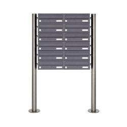 Basic | 12er Briefkastenanlage freistehend Design BASIC 385 ST-R - RAL 7016 anthrazitgrau | Mailboxes | Briefkasten Manufaktur