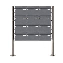 Basic | 12er Briefkastenanlage freistehend Design BASIC 385220 7016 ST-R - RAL 7016 anthrazitgrau | Mailboxes | Briefkasten Manufaktur