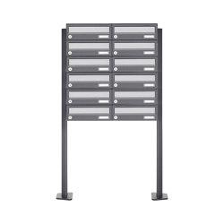Basic | 12er Briefkastenanlage freistehend Design BASIC 385P ST-T - Edelstahl-RAL 7016 anthrazitgrau | Mailboxes | Briefkasten Manufaktur