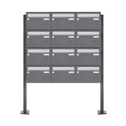 Basic | 12er Briefkastenanlage freistehend Design BASIC Plus 385XP ST-T - Edelstahl-RAL nach Wahl | Mailboxes | Briefkasten Manufaktur