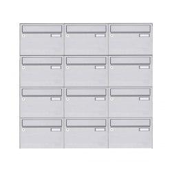 Basic | 12er Edelstahl Aufputz Briefkastenanlage Design BASIC 385 A 220 - Edelstahl V2A geschliffen | Mailboxes | Briefkasten Manufaktur