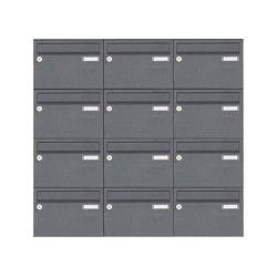 Basic | 12er Edelstahl Aufputz Briefkastenanlage Design BASIC Plus 385 XA 220 - RAL nach Wahl | Mailboxes | Briefkasten Manufaktur