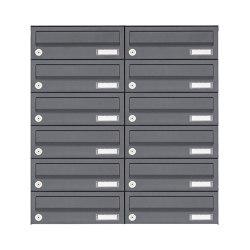 Basic | 12er Edelstahl Aufputz Briefkastenanlage Design BASIC Plus 385XA AP - RAL nach Wahl | Mailboxes | Briefkasten Manufaktur