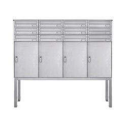 Basic | 12er Edelstahl Briefkastenanlage freistehend BASIC 863B ST-Q - 4x Paketfach - 12x Briefkasten | Mailboxes | Briefkasten Manufaktur