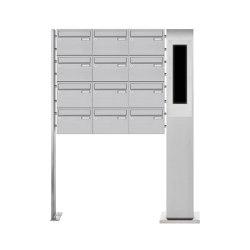 Basic | 12er Edelstahl Standbriefkasten BASIC Plus 385X220 ST-P - GIRA System 106 - 5-fach vorbereitet Rechts | Mailboxes | Briefkasten Manufaktur