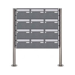 Basic | 12er Edelstahl Standbriefkasten Design BASIC Plus 385 220 X ST R - Edelstahl - RAL nach Wahl | Mailboxes | Briefkasten Manufaktur