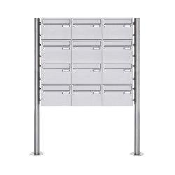 Basic | 12er Edelstahl Standbriefkasten Design BASIC Plus 385 220 X ST R - Edelstahl V2A | Mailboxes | Briefkasten Manufaktur