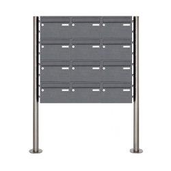 Basic | 12er Edelstahl Standbriefkasten Design BASIC Plus 385 220 X ST R - RAL nach Wahl | Mailboxes | Briefkasten Manufaktur