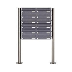 Basic | 12er Edelstahl Standbriefkasten Design BASIC Plus 385 X ST R - RAL nach Wahl | Mailboxes | Briefkasten Manufaktur