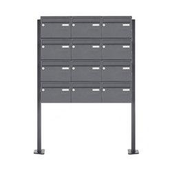 Basic | 12er Edelstahl Standbriefkasten Design BASIC Plus 385XP ST-T - RAL nach Wahl | Mailboxes | Briefkasten Manufaktur