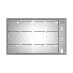Basic | 12er Edelstahl Unterputz Briefkastenanlage BASIC 534 UP SP- mit Klingelkasten Rechts | Mailboxes | Briefkasten Manufaktur