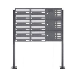 Basic | 12er Standbriefkasten Design BASIC 385P ST-T mit Klingelkasten - Edelstahl-RAL 7016 anthrazit Rechts | Mailboxes | Briefkasten Manufaktur