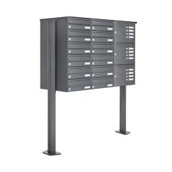 Basic | 12er Standbriefkasten Design BASIC 385P ST-T mit Klingelkasten - RAL 7016 anthrazitgrau Rechts | Mailboxes | Briefkasten Manufaktur