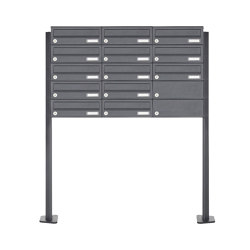 Basic | 13er 5x3 Edelstahl Briefkastenanlage freistehend Design BASIC Plus 385XP ST-T - RAL nach Wahl | Mailboxes | Briefkasten Manufaktur