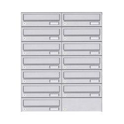 Basic | 13er 7x2 Aufputz Briefkastenanlage Design BASIC 385A AP - Edelstahl V2A, geschliffen | Mailboxes | Briefkasten Manufaktur