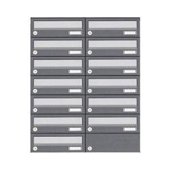Basic | 13er 7x2 Aufputz Briefkastenanlage Design BASIC 385A AP - Edelstahl-RAL 7016 anthrazit | Mailboxes | Briefkasten Manufaktur