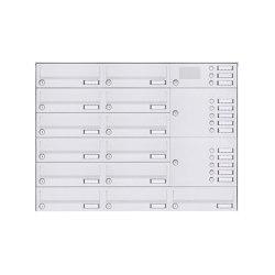Basic | 13er Aufputz Briefkastenanlage Design BASIC 385A-9016 AP mit Klingelkasten - RAL 9016 verkehrsweiß Rechts | Mailboxes | Briefkasten Manufaktur