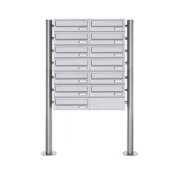 Basic | 13er Briefkastenanlage freistehend Design BASIC 385 ST-R - Edelstahl V2A, geschliffen | Mailboxes | Briefkasten Manufaktur