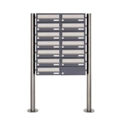 Basic | 13er Briefkastenanlage freistehend Design BASIC 385 ST-R - Edelstahl-RAL 7016 anthrazitgrau | Mailboxes | Briefkasten Manufaktur