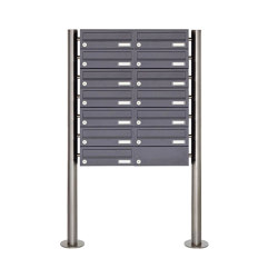 Basic | 13er Briefkastenanlage freistehend Design BASIC 385 ST-R - RAL 7016 anthrazitgrau | Mailboxes | Briefkasten Manufaktur