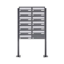 Basic | 13er Briefkastenanlage freistehend Design BASIC 385P ST-T - Edelstahl-RAL 7016 anthrazitgrau | Mailboxes | Briefkasten Manufaktur