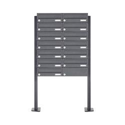 Basic | 13er Briefkastenanlage freistehend Design BASIC 385P ST-T - RAL 7016 anthrazitgrau | Mailboxes | Briefkasten Manufaktur