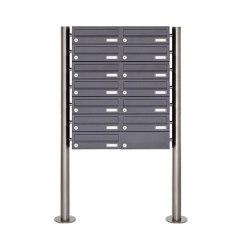 Basic | 13er Edelstahl Standbriefkasten Design BASIC Plus 385 X ST R - RAL nach Wahl | Mailboxes | Briefkasten Manufaktur