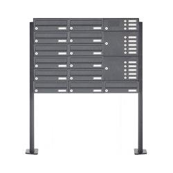 Basic | 13er Edelstahl Standbriefkastenanlage Design BASIC Plus 385XP ST-T mit Klingelkasten - RAL nach Wahl Rechts | Mailboxes | Briefkasten Manufaktur