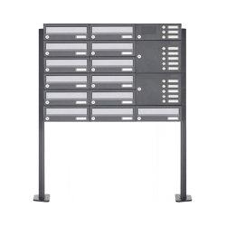 Basic | 13er Standbriefkasten Design BASIC 385P ST-T mit Klingelkasten - Edelstahl-RAL 7016 anthrazit Rechts | Mailboxes | Briefkasten Manufaktur