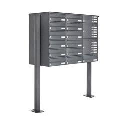 Basic | 13er Standbriefkasten Design BASIC 385P ST-T mit Klingelkasten - RAL 7016 anthrazitgrau Rechts | Mailboxes | Briefkasten Manufaktur