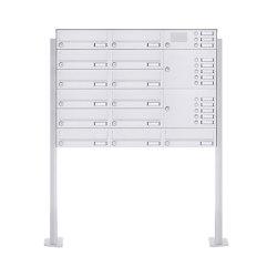 Basic | 13er Standbriefkasten Design BASIC 385P-9016 ST-T mit Klingelkasten - RAL 9016 verkehrsweiß Rechts | Mailboxes | Briefkasten Manufaktur