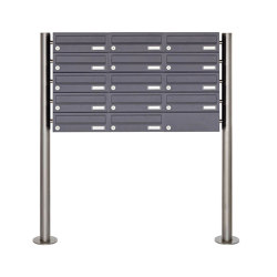 Basic | 14er 5x3 Briefkastenanlage freistehend Design BASIC 385 ST-R - RAL 7016 anthrazitgrau | Mailboxes | Briefkasten Manufaktur