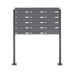 Basic | 14er 5x3 Edelstahl Briefkastenanlage freistehend Design BASIC Plus 385XP ST-T - RAL nach Wahl | Mailboxes | Briefkasten Manufaktur