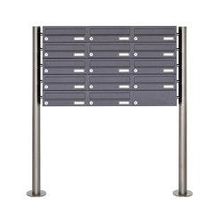 Basic | 14er 5x3 Edelstahl Standbriefkasten Design BASIC Plus 385 X ST R - RAL nach Wahl | Mailboxes | Briefkasten Manufaktur