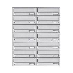 Basic | 14er 7x2 Aufputz Briefkastenanlage Design BASIC 385A AP - Edelstahl V2A, geschliffen | Mailboxes | Briefkasten Manufaktur