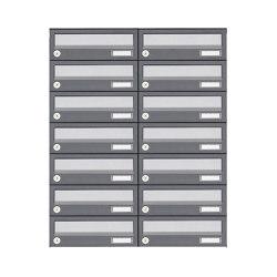 Basic | 14er 7x2 Aufputz Briefkastenanlage Design BASIC 385A AP - Edelstahl-RAL 7016 anthrazit | Mailboxes | Briefkasten Manufaktur