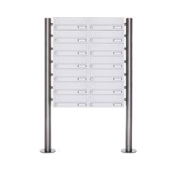 Basic | 14er 7x2 Briefkastenanlage freistehend Design BASIC 385-9016 ST-R - RAL 9016 verkehrsweiß | Mailboxes | Briefkasten Manufaktur