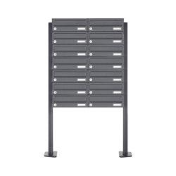 Basic | 14er 7x2 Edelstahl Briefkastenanlage freistehend Design BASIC Plus 385XP ST-T - RAL nach Wahl | Mailboxes | Briefkasten Manufaktur