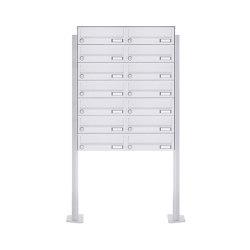 Basic | 14er 7x2 Standbriefkasten Design BASIC 385P-9016 ST-T - RAL 9016 verkehrsweiß | Mailboxes | Briefkasten Manufaktur
