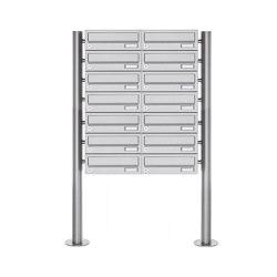 Basic | 14er Briefkastenanlage freistehend Design BASIC 385 ST-R - Edelstahl V2A, geschliffen | Mailboxes | Briefkasten Manufaktur