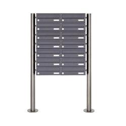 Basic | 14er Briefkastenanlage freistehend Design BASIC 385 ST-R - RAL 7016 anthrazitgrau | Mailboxes | Briefkasten Manufaktur