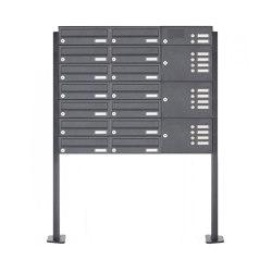 Basic | 14er Briefkastenanlage freistehend Design BASIC 385P mit Klingelkasten - RAL 7016 anthrazitgrau Rechts | Mailboxes | Briefkasten Manufaktur
