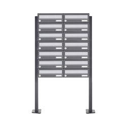 Basic | 14er Briefkastenanlage freistehend Design BASIC 385P ST-T - Edelstahl-RAL 7016 anthrazitgrau | Mailboxes | Briefkasten Manufaktur