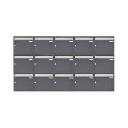 Basic | 15er 3x5 Aufputz Briefkastenanlage Design BASIC 382 AP - Edelstahl-RAL 7016 anthrazitgrau 100mm Tiefe | Mailboxes | Briefkasten Manufaktur