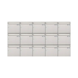 Basic | 15er 3x5 Edelstahl Aufputz Briefkastenanlage Design BASIC 382A-AP Edelstahl V2A, geschliffen 100mm Tiefe | Mailboxes | Briefkasten Manufaktur