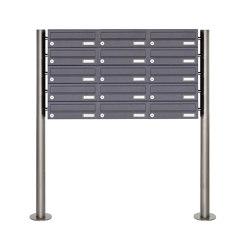 Basic | 15er 5x3 Briefkastenanlage freistehend Design BASIC 385 ST-R - RAL 7016 anthrazitgrau | Mailboxes | Briefkasten Manufaktur