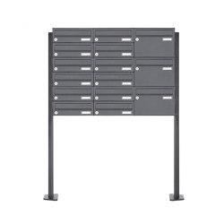 Basic | 15er 5x3 Edelstahl Briefkastenanlage freistehend BASIC Plus 385XP 220 ST-T - RAL nach Wahl Rechts | Mailboxes | Briefkasten Manufaktur
