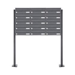 Basic | 15er 5x3 Edelstahl Briefkastenanlage freistehend Design BASIC Plus 385XP ST-T - RAL nach Wahl | Mailboxes | Briefkasten Manufaktur