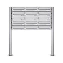 Basic | 15er Briefkastenanlage freistehend Design BASIC 385-VA ST-R - Edelstahl V2A, geschliffen | Mailboxes | Briefkasten Manufaktur