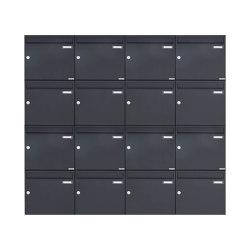 Basic | 16er 4x4 Aufputz Briefkasten Design BASIC 382A AP - RAL 7016 anthrazitgrau 100mm Tiefe | Mailboxes | Briefkasten Manufaktur
